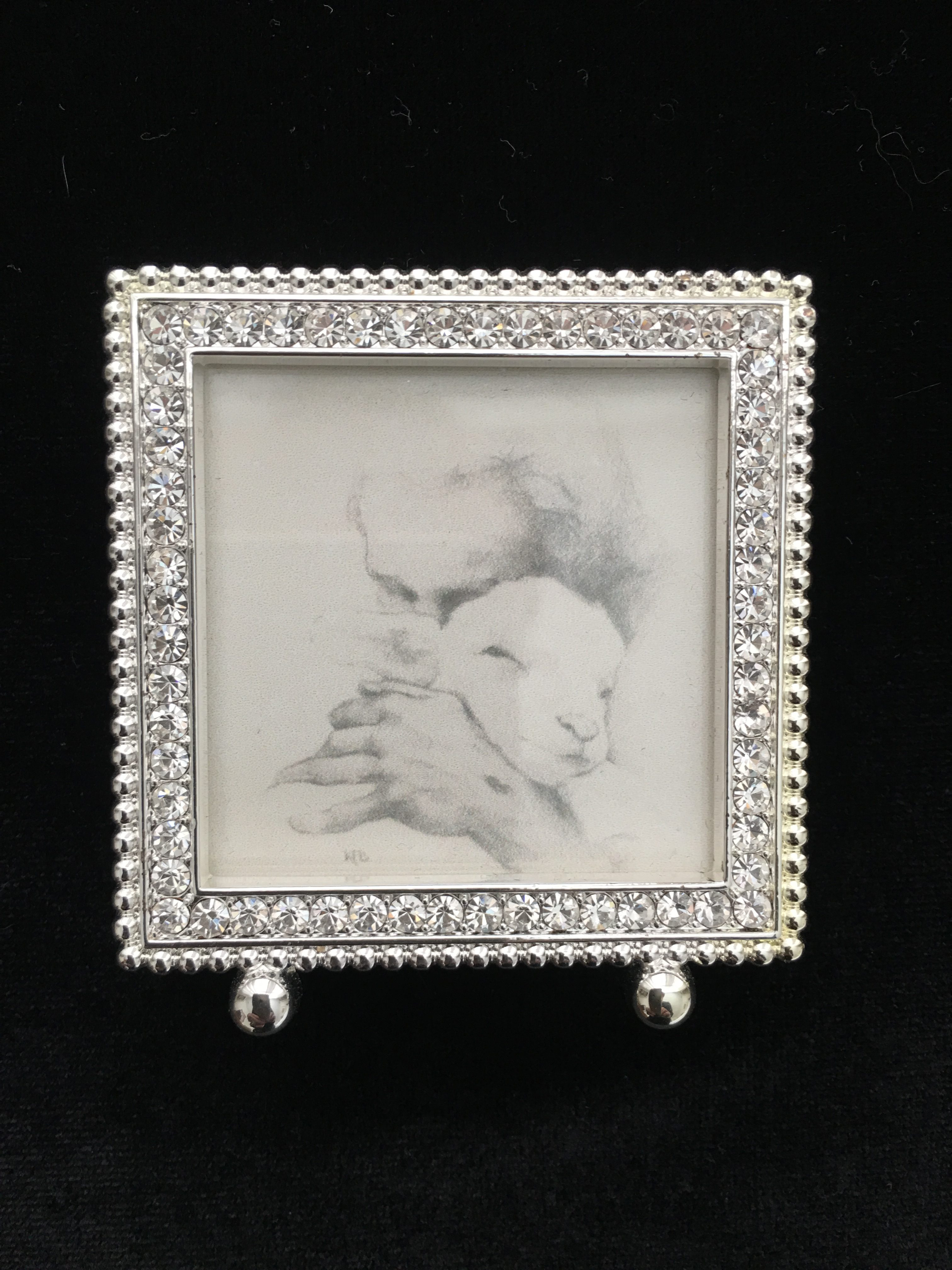 Jesus and the Lamb B&W mini framed print 2x2 - Jesus and the Lamb