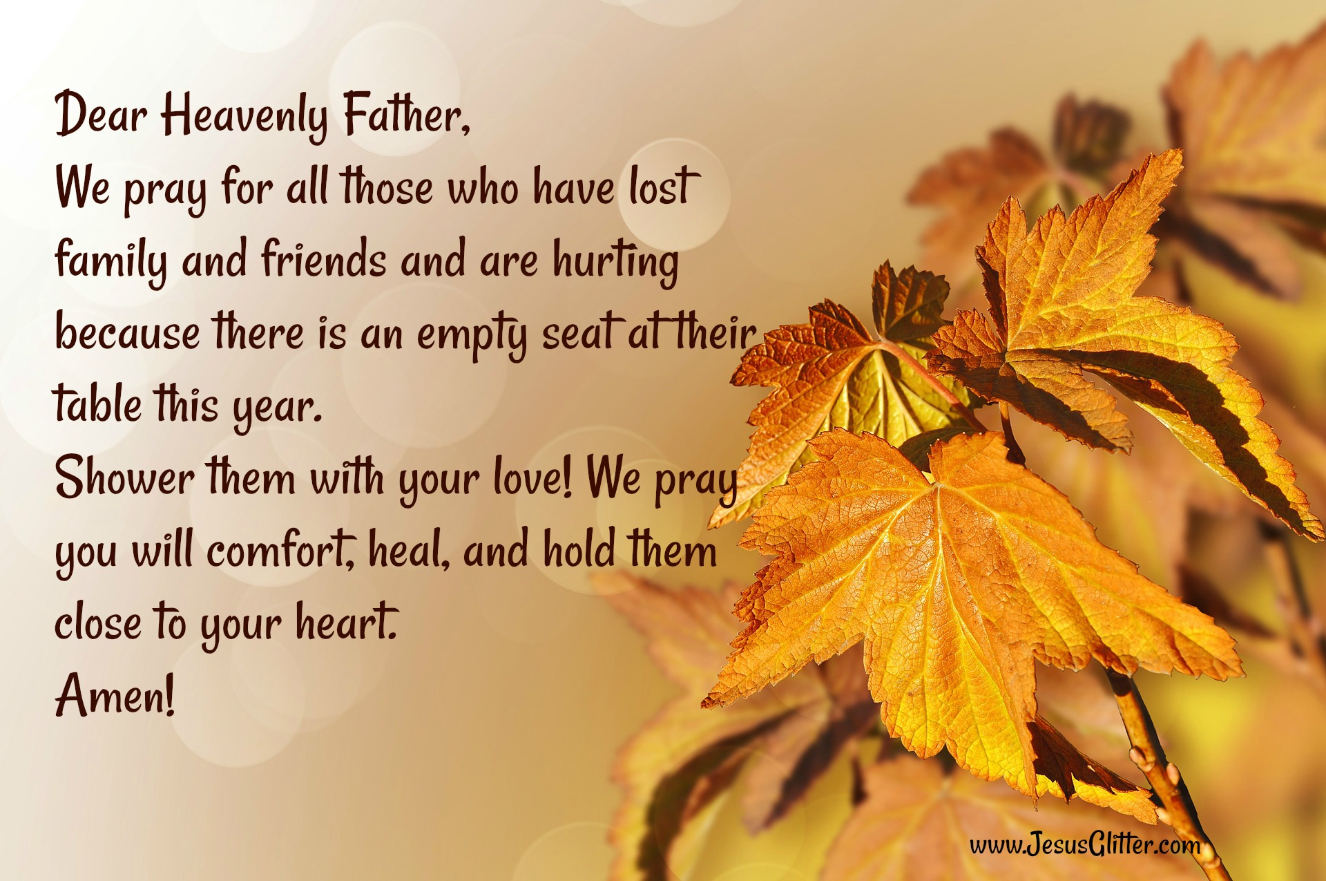 Prayer for family that lost a loved one