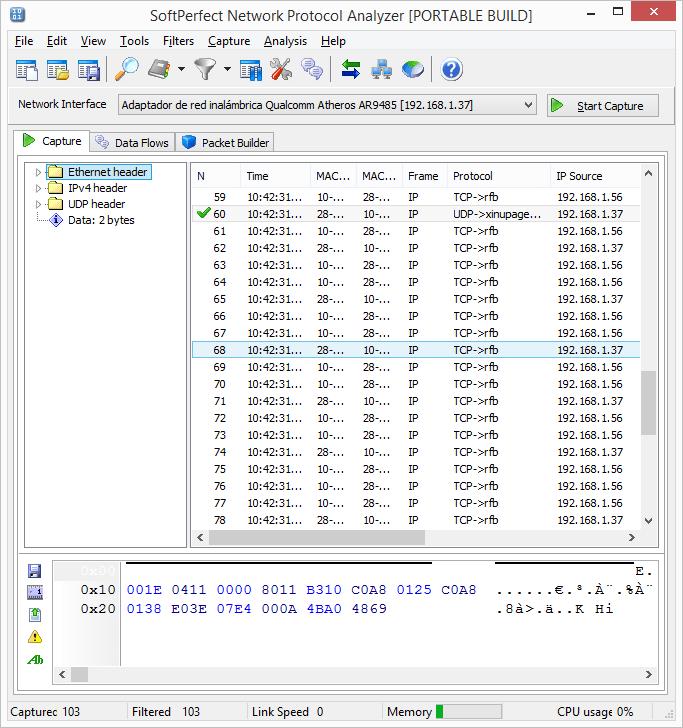 Capturar el tráfico de red entre el cliente y el servidor con SoftPerfect Network Protocol Analyzer