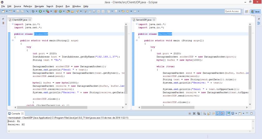 Server and client (Datagram Socket UDP)