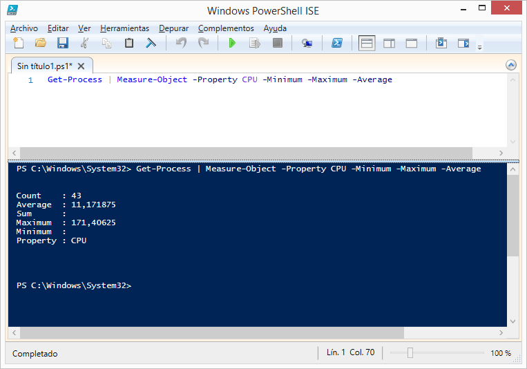 get-process-measure-object-property-cpu-minimum-maximum-average-powershell-windows
