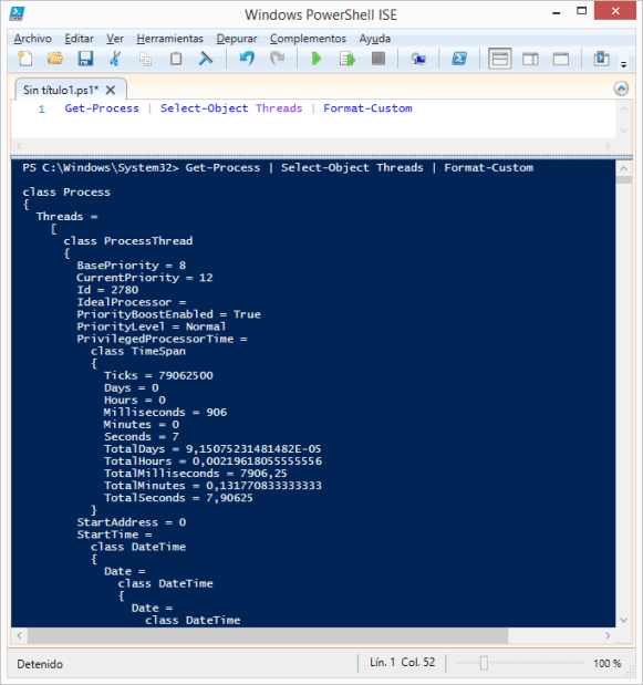 get-process-select-object-threads-format-custom-powershell-windows