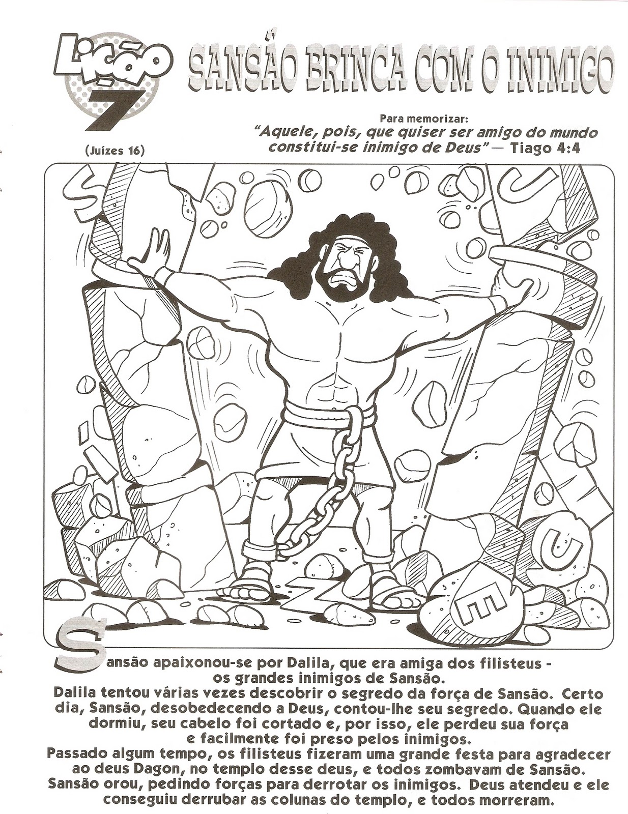 Samson Worksheet Samson And Delilah Printable Activity