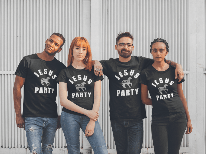 Jesus Party shirts in black