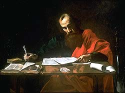 Valentin de Boulogne or Nicolas Tournier, St Paul Writing His Epistles (1620)