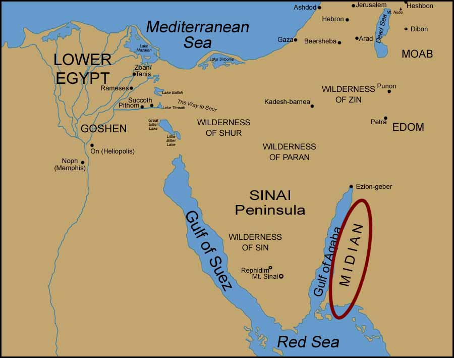 Moses midian on all three maps you will see that they have midian over on a western cape off saudi arabia which makes no sense first if moses left goshen and went sciox Gallery