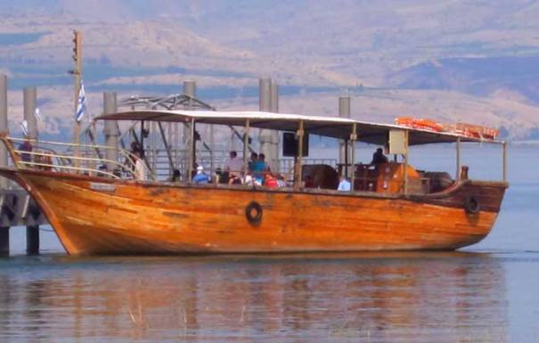wooden boat on the Sea of Galilee