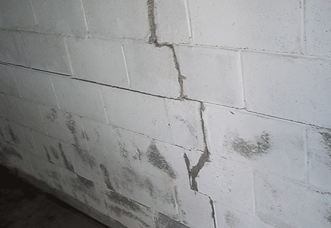 Cracked Concrete Block Wall