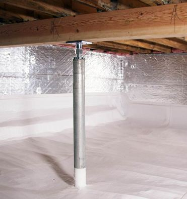 support jack in encapsulated crawl space