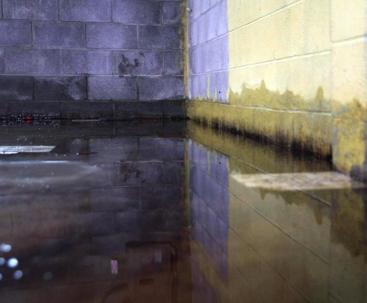 Flooded basement of a home with standing water - Interior