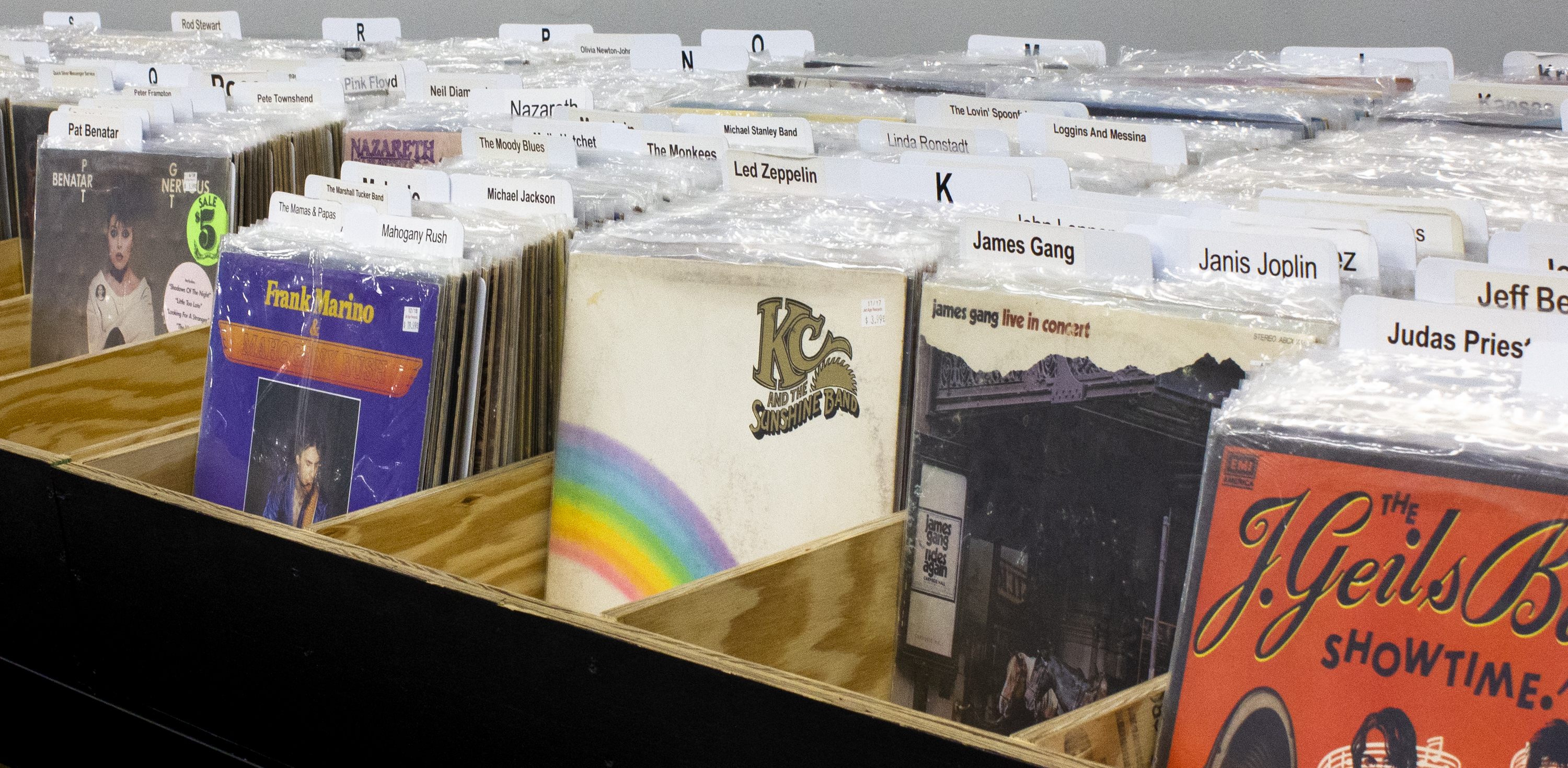 Full selection of new and used vintage vinyl and even dollar bins.