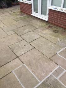 Indian stone patio before 11