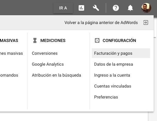 Adwords, facturación y pagos.