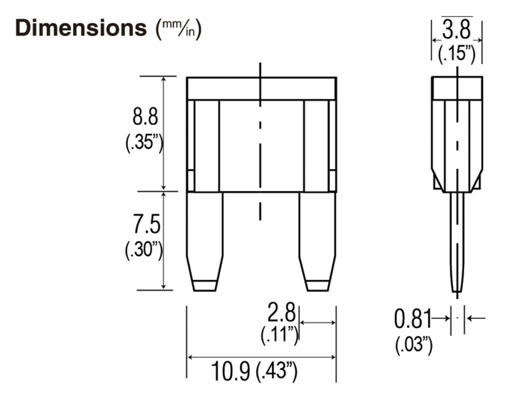 125 Min 4 32vdc Mini Automotive Blade Style Fuses