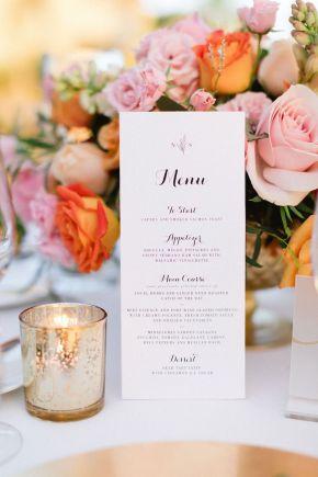 menu de table de mariage de destination