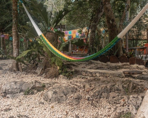 Colorful hammock at the cenote