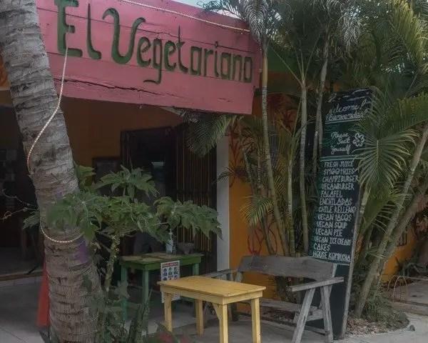 Cute little colorful restaurant  in Tulum city.