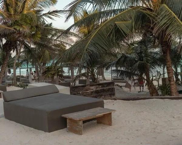 Comfy beach beds at Casa Malca.