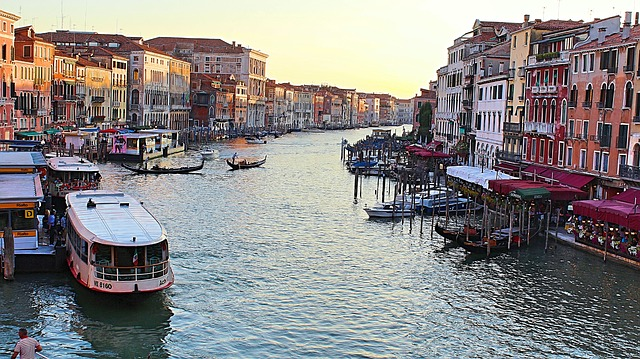 View of the Grand Canal from Rialto Bridge in Venice, Italy.
