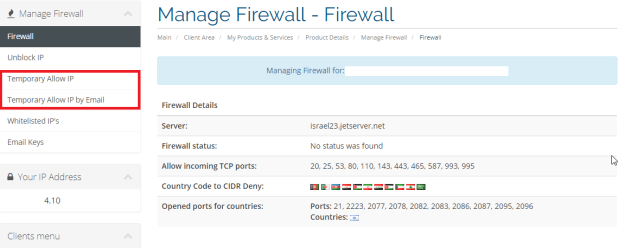 Manage Firewall - Allow Special Access