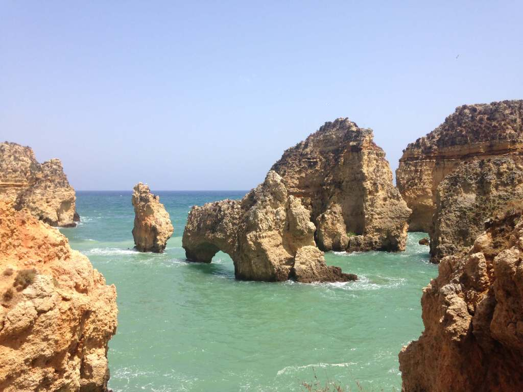 Blue Ocean and Large Rock Formations in lagos Portugal