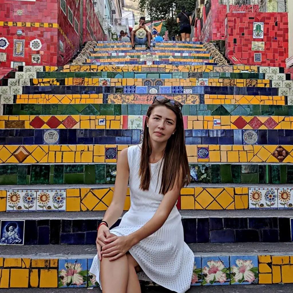 Alona Tiunina in Rio de Janeiro, by Escadaria Selarón