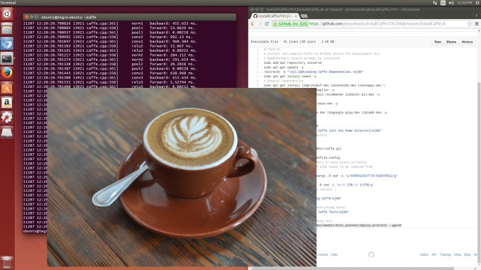 Using the JetsonHacks script to install Caffe.