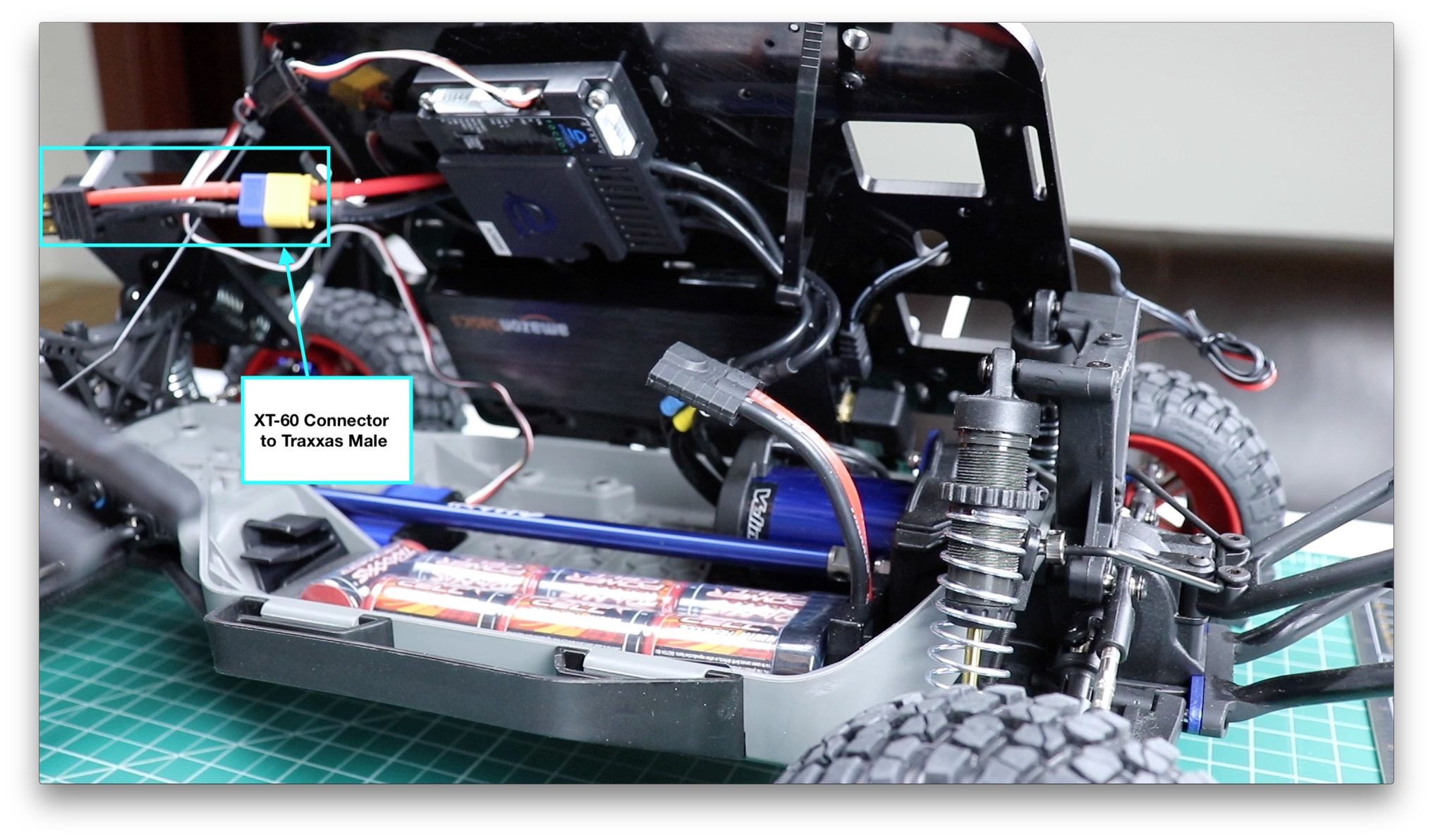 Battery installed in chassis