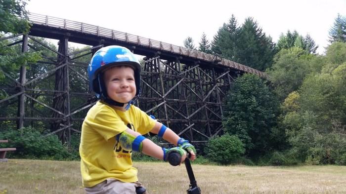 My 3-year-old son, already a die-hard trail rider.