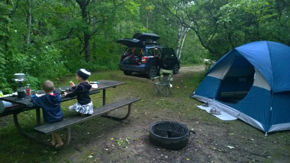 Our Subaru popped-open camping mode overlooking the Mississippi in Minnesota