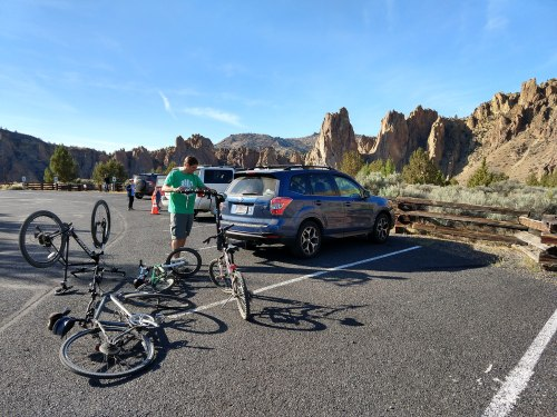 Loading our bikes back on the Subaru at Smith Rock in Oregon