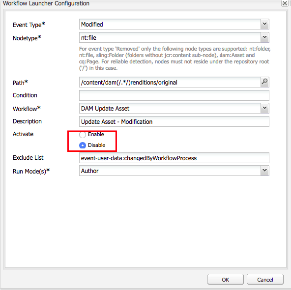 Disable all DAM Update Assets workflow launchers
