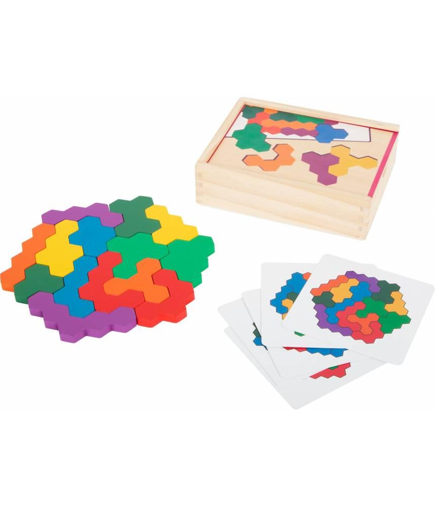 puzzle en bois hexagone et casse tete smallfoot
