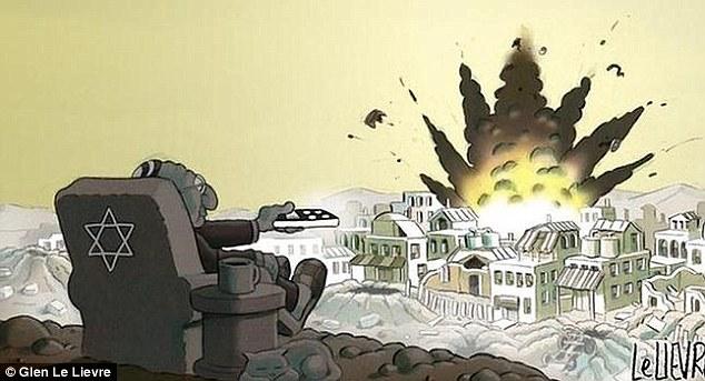Le dessin incriminé qui accompagnait un article sur le « conflit » à Gaza.