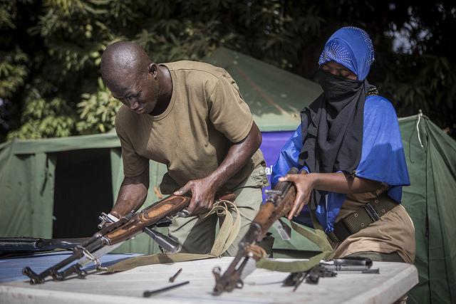"""Une """"similation de DDR"""", organisée à Bamako par le génie militaire en avril 2017."""