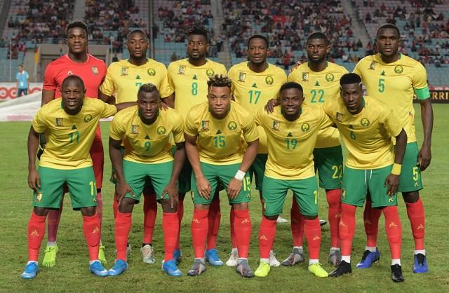 L'équipe camerounaise avant son match amical contre la Tunisie, le 12 octobre 2019, à Rades