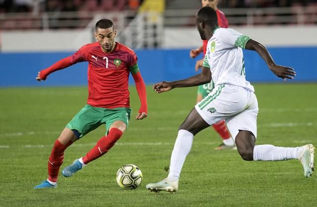 Le milieu de terrain marocain Hakim Ziyech lors du match contre la Mauritanie, lors des éliminatoires de la CAN, le 15 novembre 2019, à Rabat.