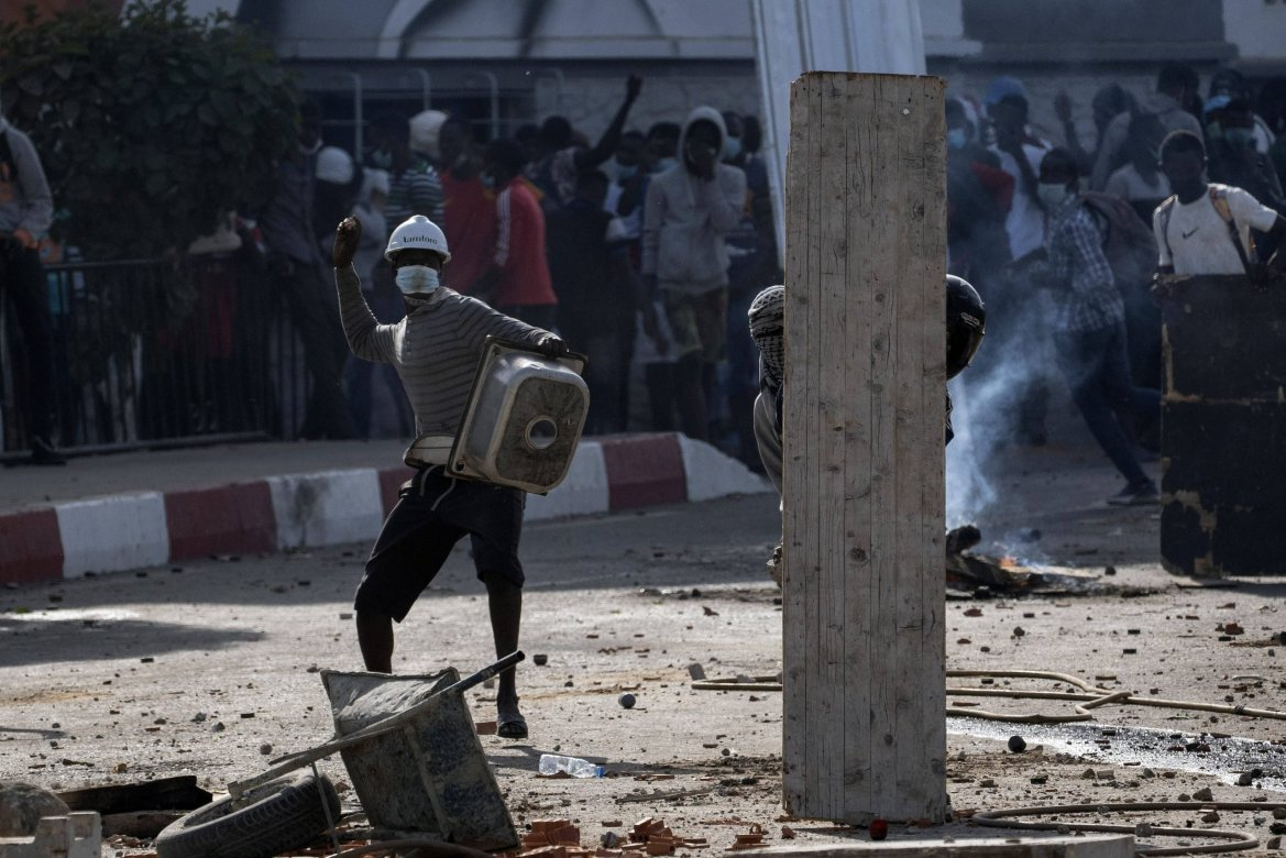 Lors des heurts entre pro-Sonko et forces de l'ordre, à Dakar, le 4 mars 2021.