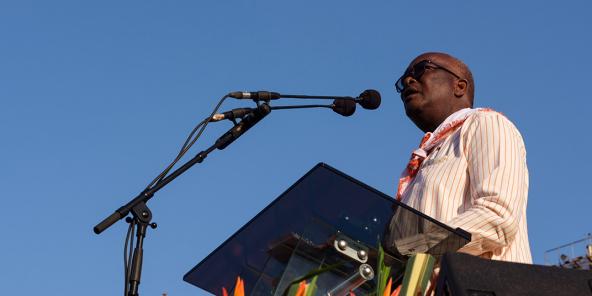 Roch Marc Christian Kaboré lors de son dernier meeting de campagne avant la présidentielle, à Ouagadougou, le 20 novembre 2020.