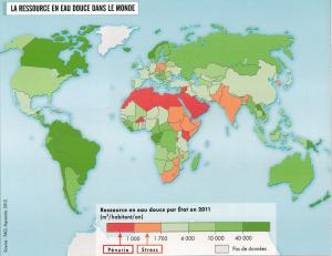 Carte ressource en eau douce dans le monde