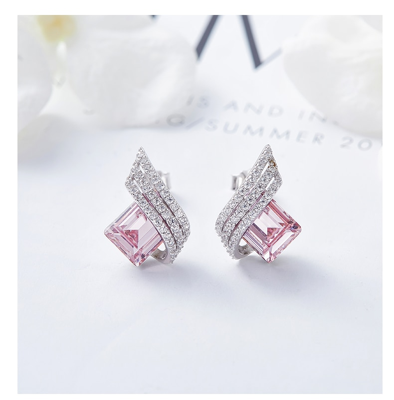Earrings with Shiny Cubic and Crystal