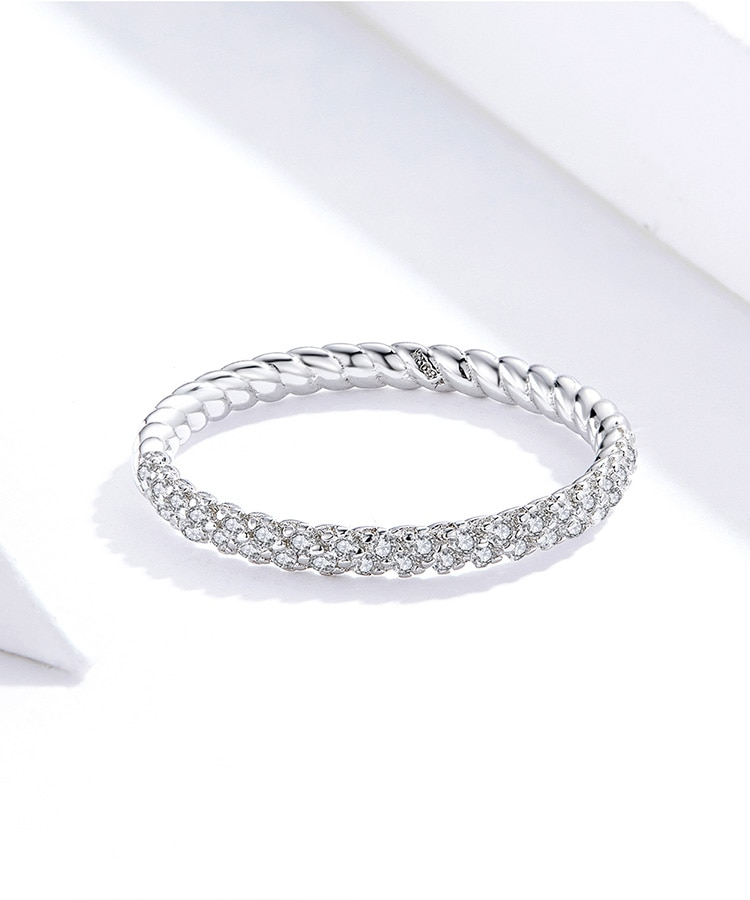 bamoer Wedding Engagement Jewelry Clear CZ 925 Sterling Silver Finger Rings for Women High Quality 2019 Luxury Anel SCR624