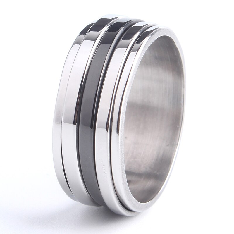 KEX Stainless Steel  Ring with Three Stripe Rotation