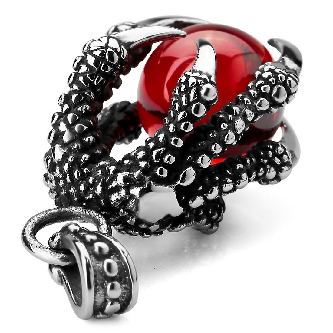 Gothic Red Dragon Claws Pendant
