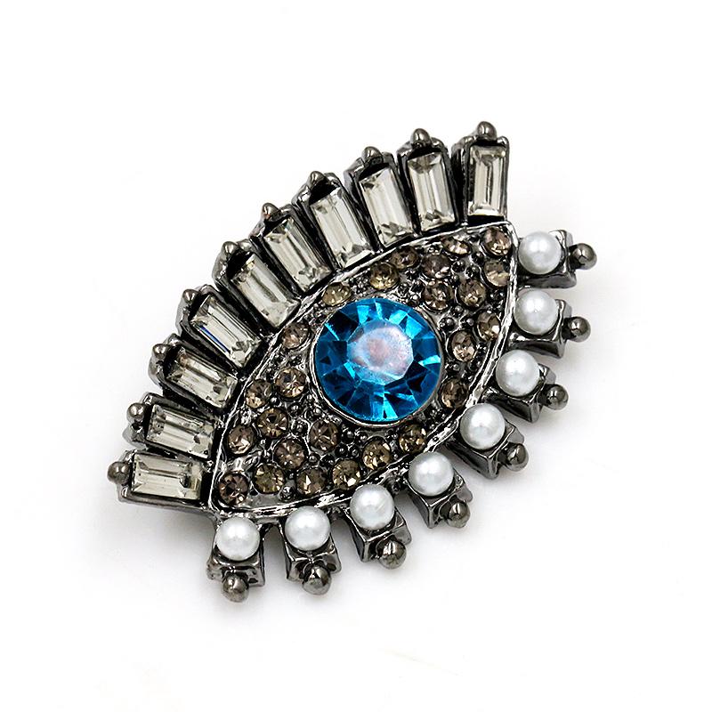 Blue and Grey Crystal Eye Brooch