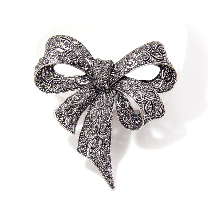Black Bow Brooch with Rhinestones