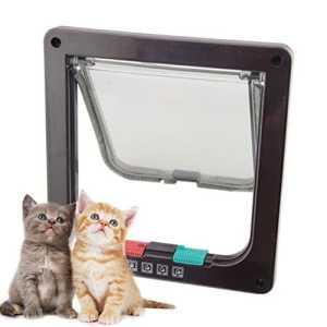 NEW Cadre Blanc 4Way verrouillable de verrouillage de porte à rabat pour petit chien chat S M L 3tailles
