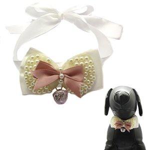 Alfie Pet par petoga couture–Sienna perle collier ruban Nœud Papillon pour Chiens et Chats–Couleur: Rose