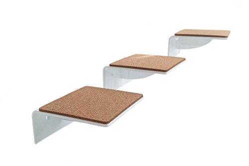 Lot de 3–Grand escalier Blanc, bords gelaserte, un must pour tous les chats Fan, niveau Taille: Chat 19x 20cm