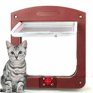 De Verrouillage 4voies Marron café pour petit chien Doggy pour chien chat sécurité Rabat Tunnel de porte en plastique